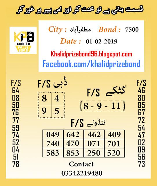 Prize Bond 7500 City Muzaffarabad F/S Akray And Tandolay Guess Paper 2019