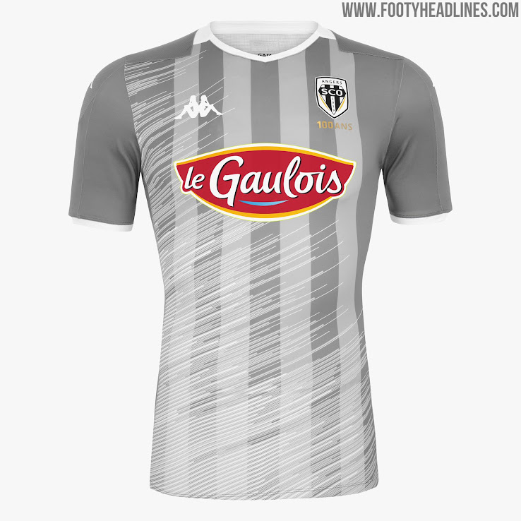 956f8679e64 The new Angers SCO 2019-20 away jersey is grey with subtle striping and an  eye-catching diagonal pattern applied to it. Both the sleeve cuffs and the  sleeve ...