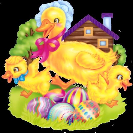 pollos y patos huevos de pascua