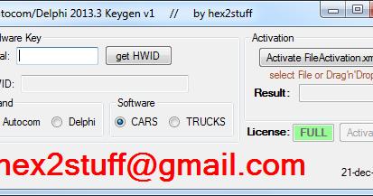 hex2stuff 2013: autocom / delphi 2013 release 3 keygen activator 2013
