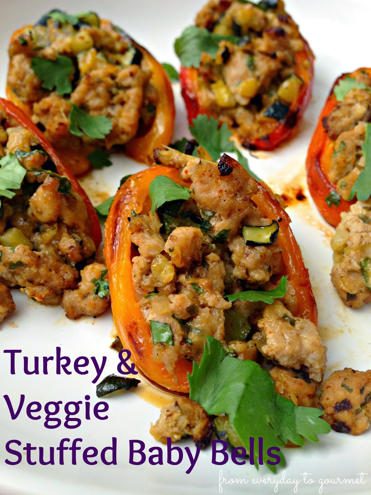 Healthy Turkey & Veggie Stuffed Baby Bell Peppers