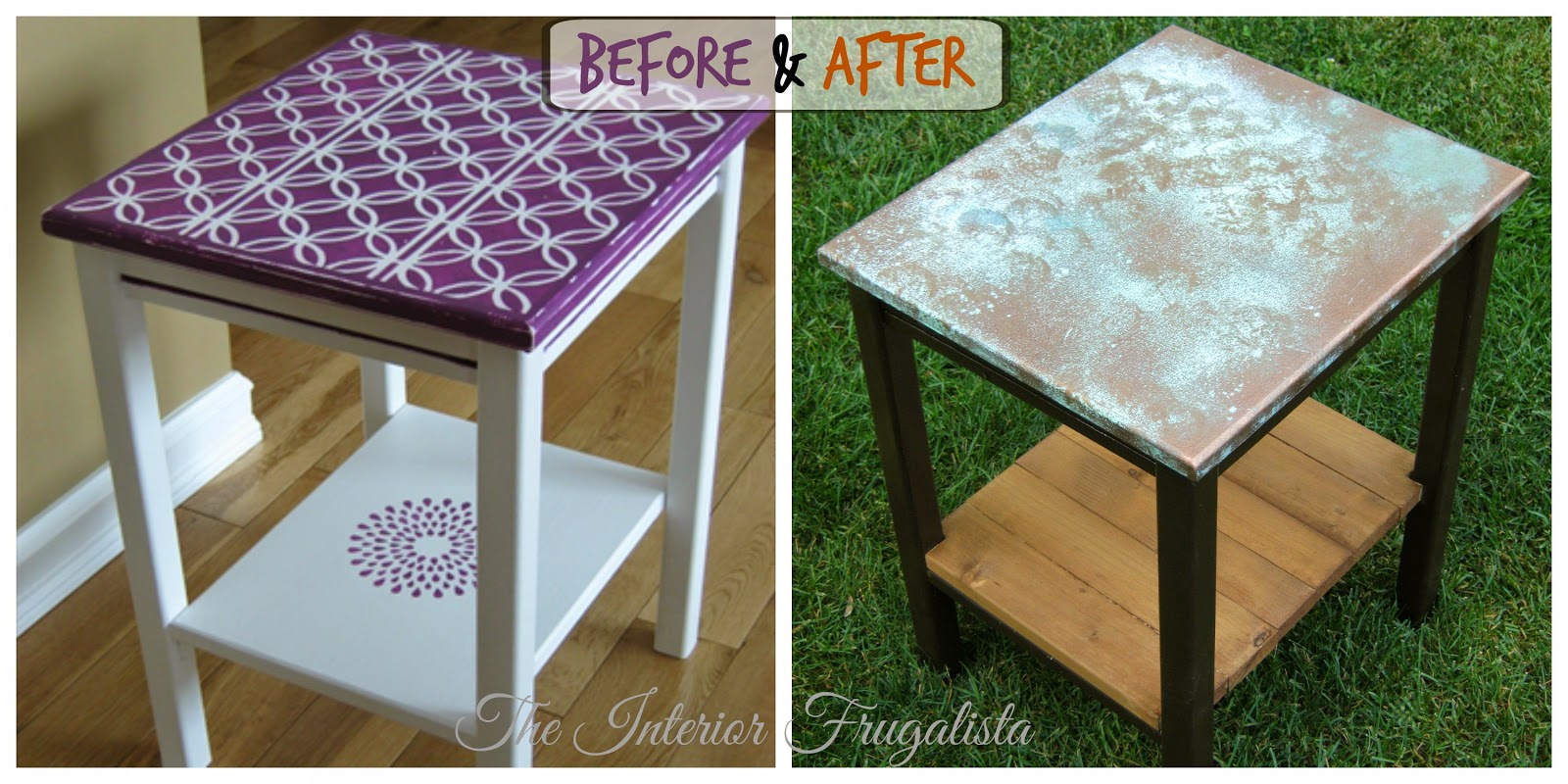 Faux oxidized copper topped table Before and After
