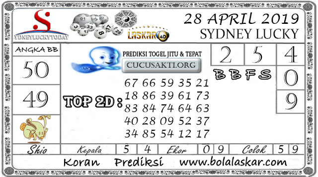 Prediksi Togel SYDNEY LUCKY TODAY LASKAR4D 28 APRIL 2019