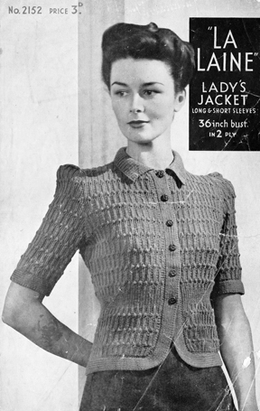 The Vintage Pattern Files: Free 1940's Knitting Pattern - La Laine 2152 Lady's Jacket