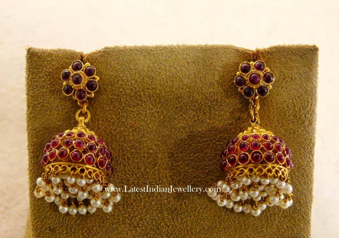 Ruby Gold Jhumkas with Pearl Drops