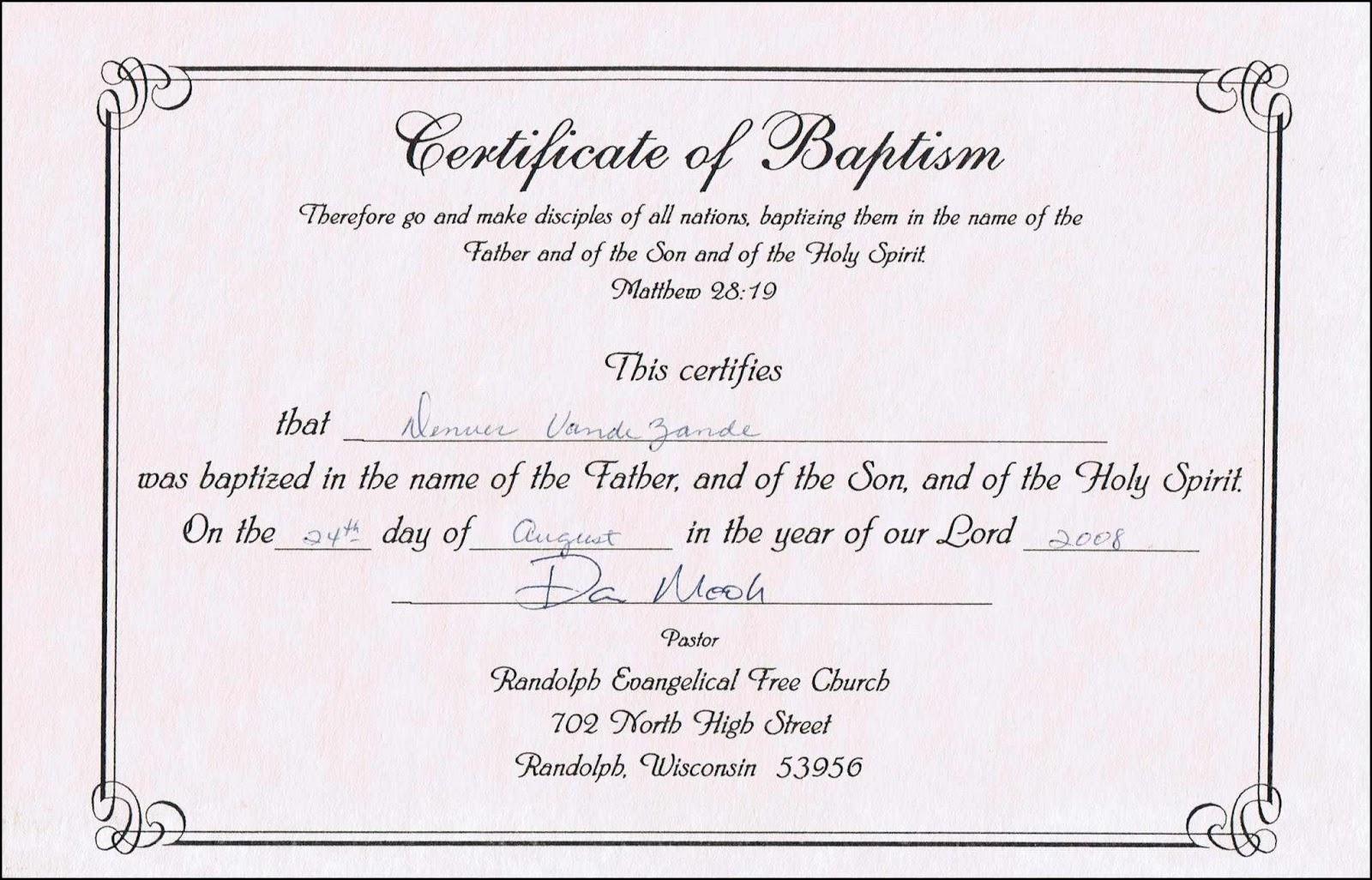 sample baptism certificate templates