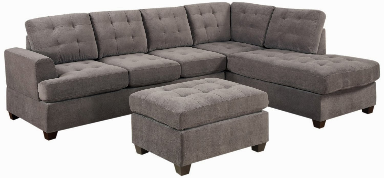 Charcoal Bobkona Austin 3 Piece Reversible Sectional With Ottoman