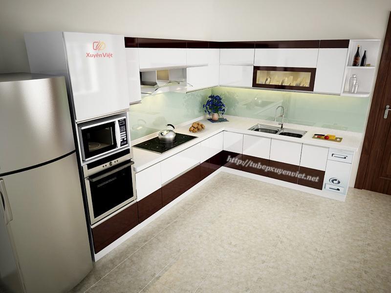 Tủ bếp đjep chữ L màu nâu trắng