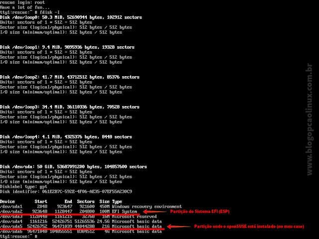 """Saída do comando """"fdisk -l"""" mostrando as partições presentes no meu HD"""