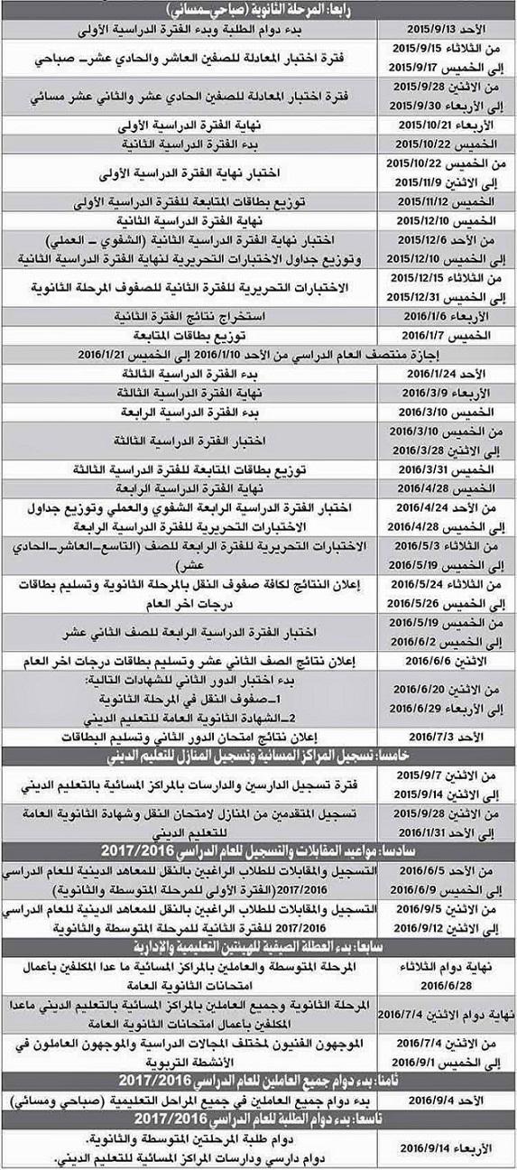 دوام وأجازات المدارس للعام الدراسي 2015/2016