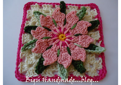 Cactus Flower Granny Square, Pattern and Tutorial.