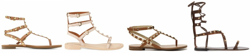 One of these pairs of studded sandals is from Valentino for $1,495 and the other three are under $70. Can you guess which one is the designer pair?