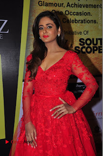 Actress Model Parul Yadav Stills in Red Long Dress at South Scope Lifestyle Awards 2016 Red Carpet  0063.JPG