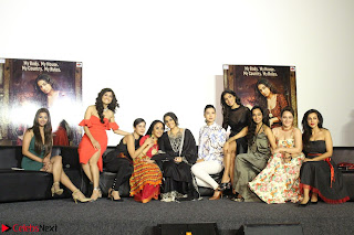 Vidya Balan with Ila Arun Gauhar Khan and other girls and star cast at Trailer launch of move Begum Jaan 015.JPG
