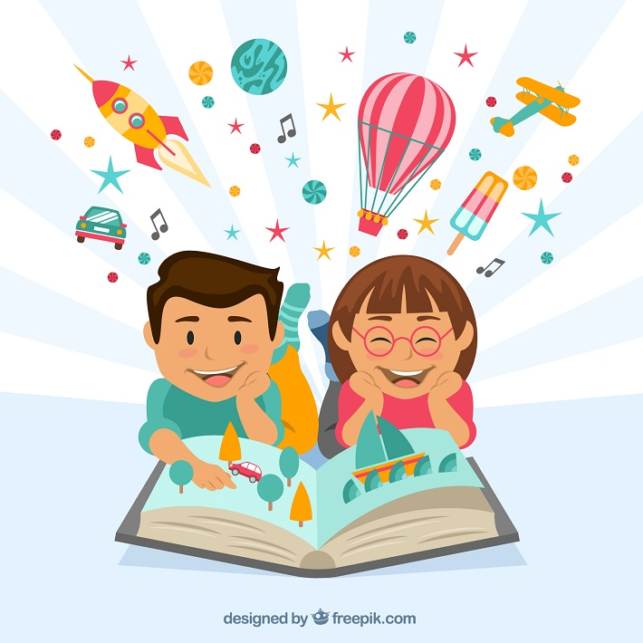 Niños leyendo un libro e imaginado mientras leen