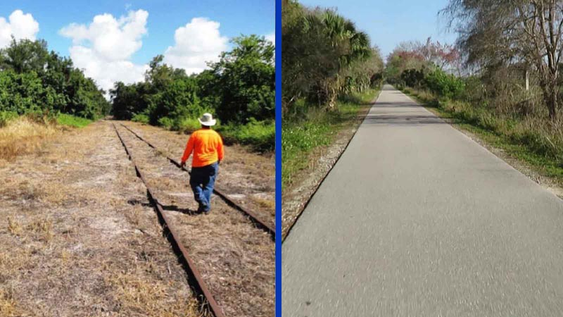 Man walking on railroad track to be a future Florida bicycle trail