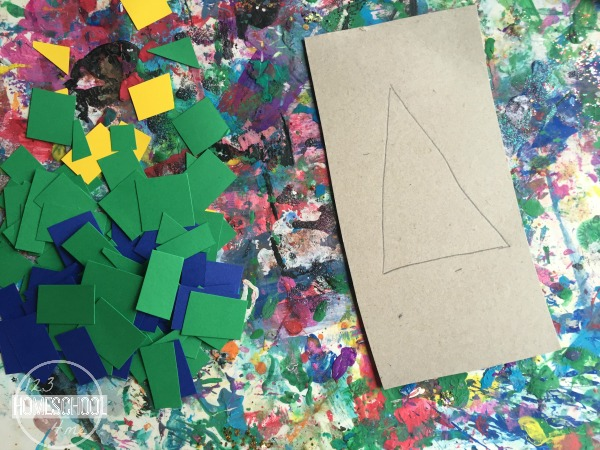 geometry mosaic art project for kids