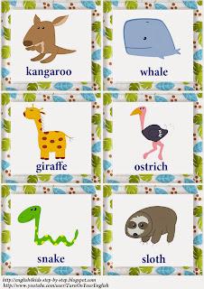 wild animals activity verbs flashcards