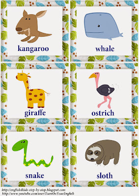 wild animals action verbs flashcards