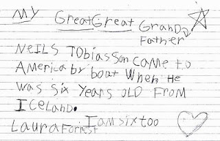 Image of handwritten essay by 6 year old Laura Forrest