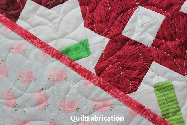 Petunia Patch #2 quilt with flannel backing