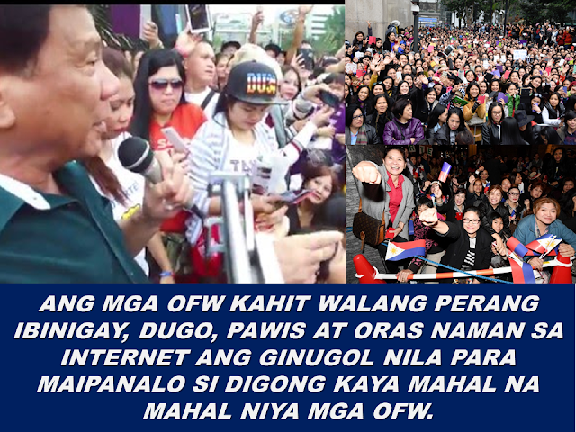 """During  President Rodrigo Duterte's  presidential campaign, he described his donors as """"Emilio Aguinaldo"""" symbolizing poor people who could afford   to contribute as little as 5 pesos to help him for the campaign. On his Statement of Contributions and Expenditures (SOCE) he filed with the Commission on Elections (Comelec) after he won the presidency seem to tell a different story. According to his SOCE, the P375 million fund Duterte has raised for his campaign came  from big businessmen.  13 biggest donors who donated  P5 million or more for his campaign already comprises 89.28 percent or P334.8 million of his total campaign fund. Small donations or those P10,000 and below amount to just P175,313 — less than half of one percent or merely 0.046 percent of Duterte's total campaign fund.  About 18 other donors who donated from P1 million to P3.5 million with an additional P31.66 million, to Duterte's campaign.   The Philippine Center on Investigative Journalism has released a list of President Duterte's top campaign donors they claim to be from the president's SOCE. It includes some prominent politicians like his running mate Senator Allan Peter Cayetano who donated  P71.3 million, former MMDA Chairman Francis Tolentino ( P3.1 million), Alfredo Lim (P1 million) , Executive secretary  Salvador Medialdea among others.   Aside from the businessmen and the millionaires, the unsung donors of the Duterte campaign are the Overseas Filipino Workers (OFWs) who devoted their time supporting President Duterte in social media, making their own banners, making memes and sharing it throughout social media sites , encouraging their friends and relatives to vote for President Duterte. According to the DFA, the total turn-out of the Overseas Absentee Voting for the 2016 election has overwhelmingly  set a new record high. The total OFWs who registered for the election reached  to 1.3 million from the 737,000 registered in 2013.   The reports about Duterte donors who got favors  from the"""