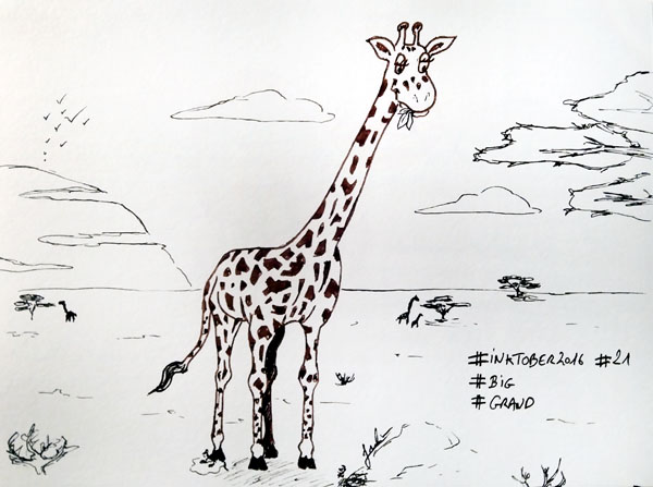 Inktober 2016 - Jour 21 - Big (Grand) - la girafe