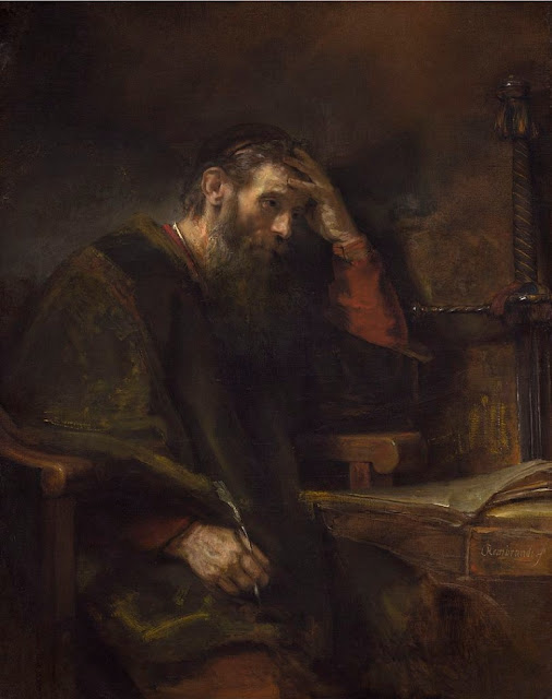 """""""O Apóstolo Paulo"""" (circa 1657), pintura de Rembrandt (1606-1669) exposta na Galeria Nacional de Arte em Washington, EUA."""