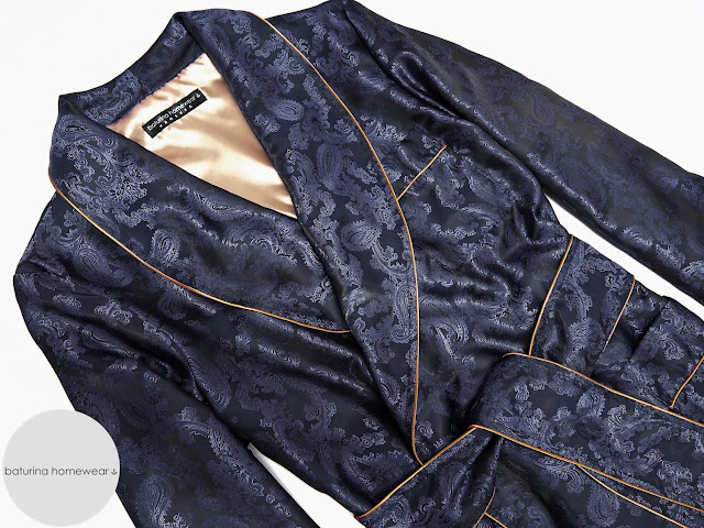mens paisley silk dressing gown navy blue lightweight robe gentleman smoking jacket