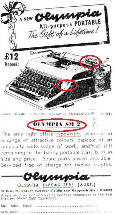 oz.Typewriter: Olympia SM Portable Typewriter Advertising
