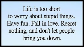Staying Alive is Not Enough :Life is too short to worry about stupid things. Have fun. Fall in love. Regret nothing, and don't let people bring you down.