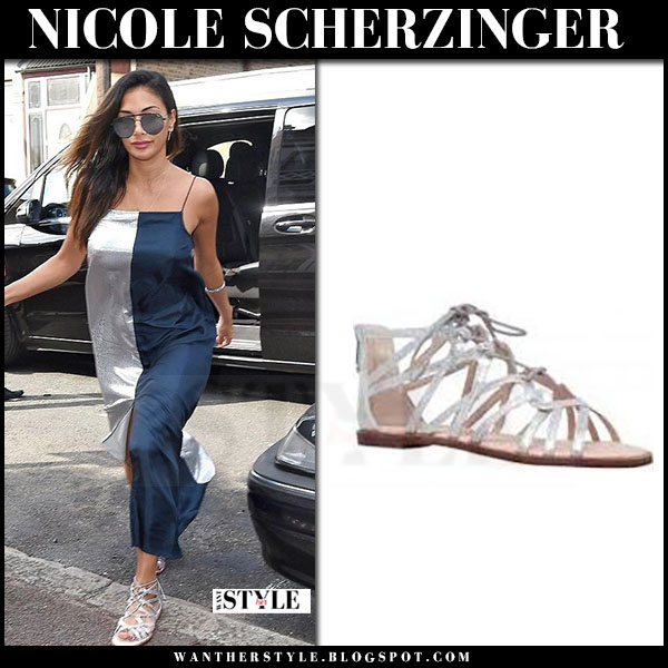 Nicole Scherzinger in silver sandals kurt geiger maisy and maxi silk dress what she wore