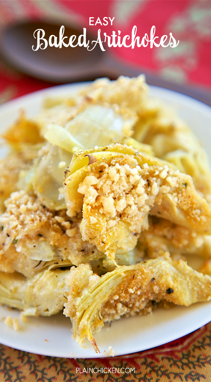 Easy Baked Artichokes - SO good and SOOO easy!!! All the flavors of stuffed artichokes without all the work. Canned artichokes, olive oil, garlic, bread crumbs and parmesan cheese. Only takes a minute to make! Great with steak, chicken pork and even pasta! LOVE quick and easy side dish recipes!