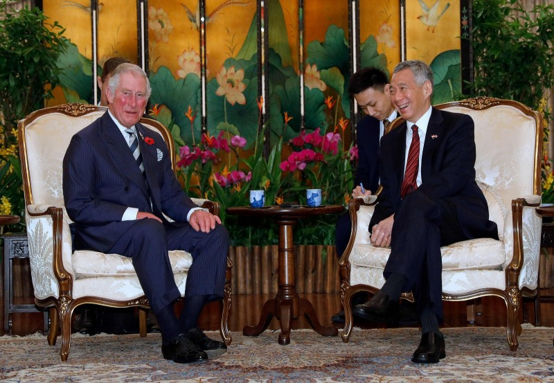 Britain's Prince Charles, Prince of Wales meets Singapore's Prime Minister Lee Hsien Loong at the Istana in Singapore October 31, 2017.
