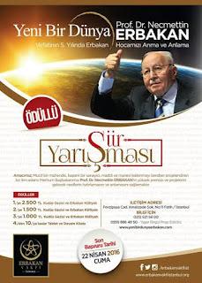 Yeni Bir Dünya Erbakan Şiir Yarışması Şartnamesi