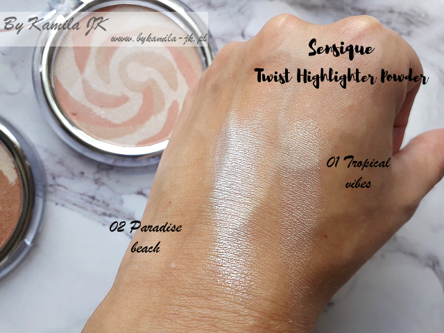 Sensique rozświetlacze Twist Highlighter Paradise beach Tropical vibes swatche