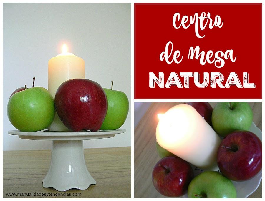 Centro de mesa hecho con manzanas