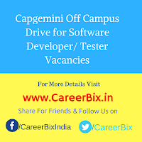 Capgemini Off Campus Drive for Software Developer/ Tester Vacancies
