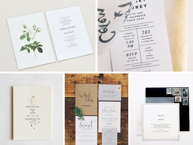 Convites de casamento minimalistas