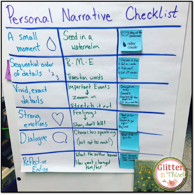 Not sure what kind of anchor chart to make for personal narratives? This one has all the elements and goes perfectly with every mentor text that you read!