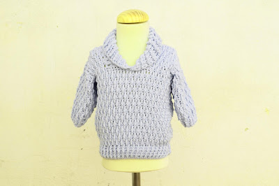 4 - Majovel Crochet Imagen Jersey azul con punto elastico a crochet y ganchillo