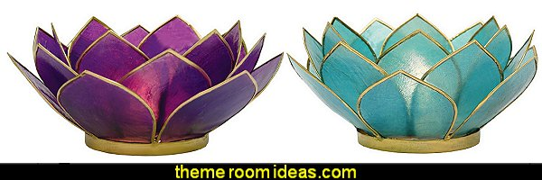Capiz Lotus Gold-Edged Candle Holder - For Use with Tea Light Candles