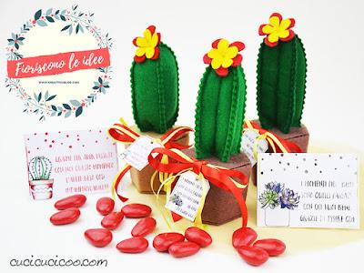 bomboniera cactus in feltro