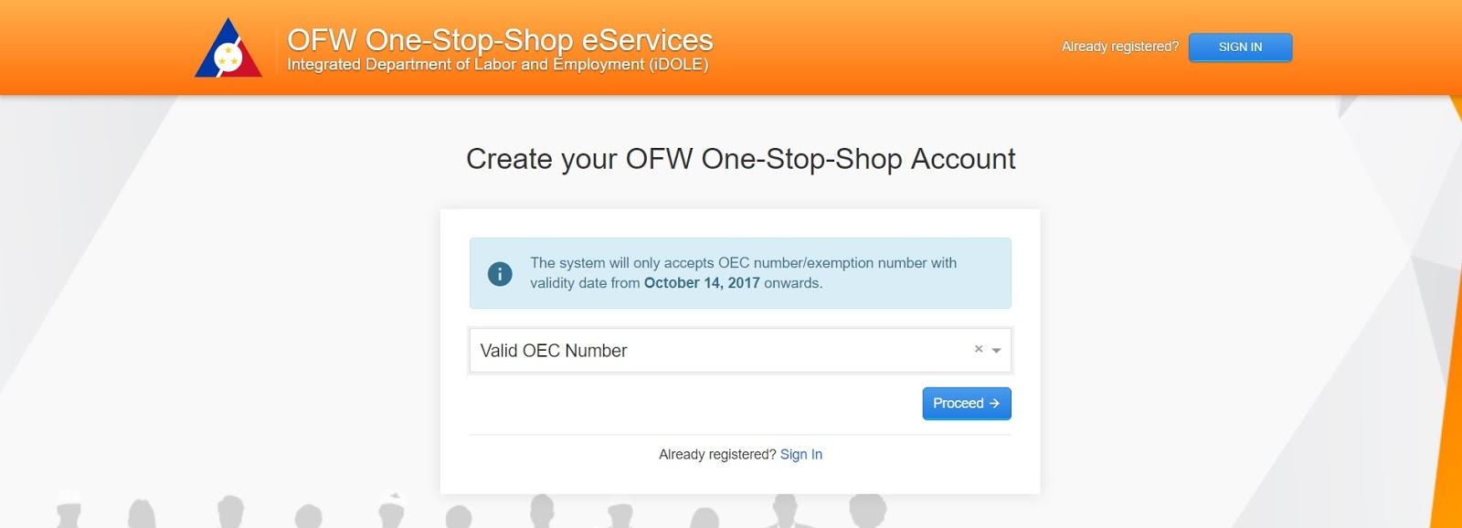 OEC number for OFW ID