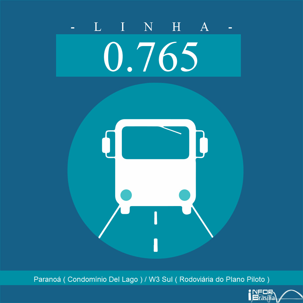 Horário de ônibus e itinerário 0.765 - Paranoá ( Condomínio Del Lago ) / W3 Sul ( Rodoviária do Plano Piloto )