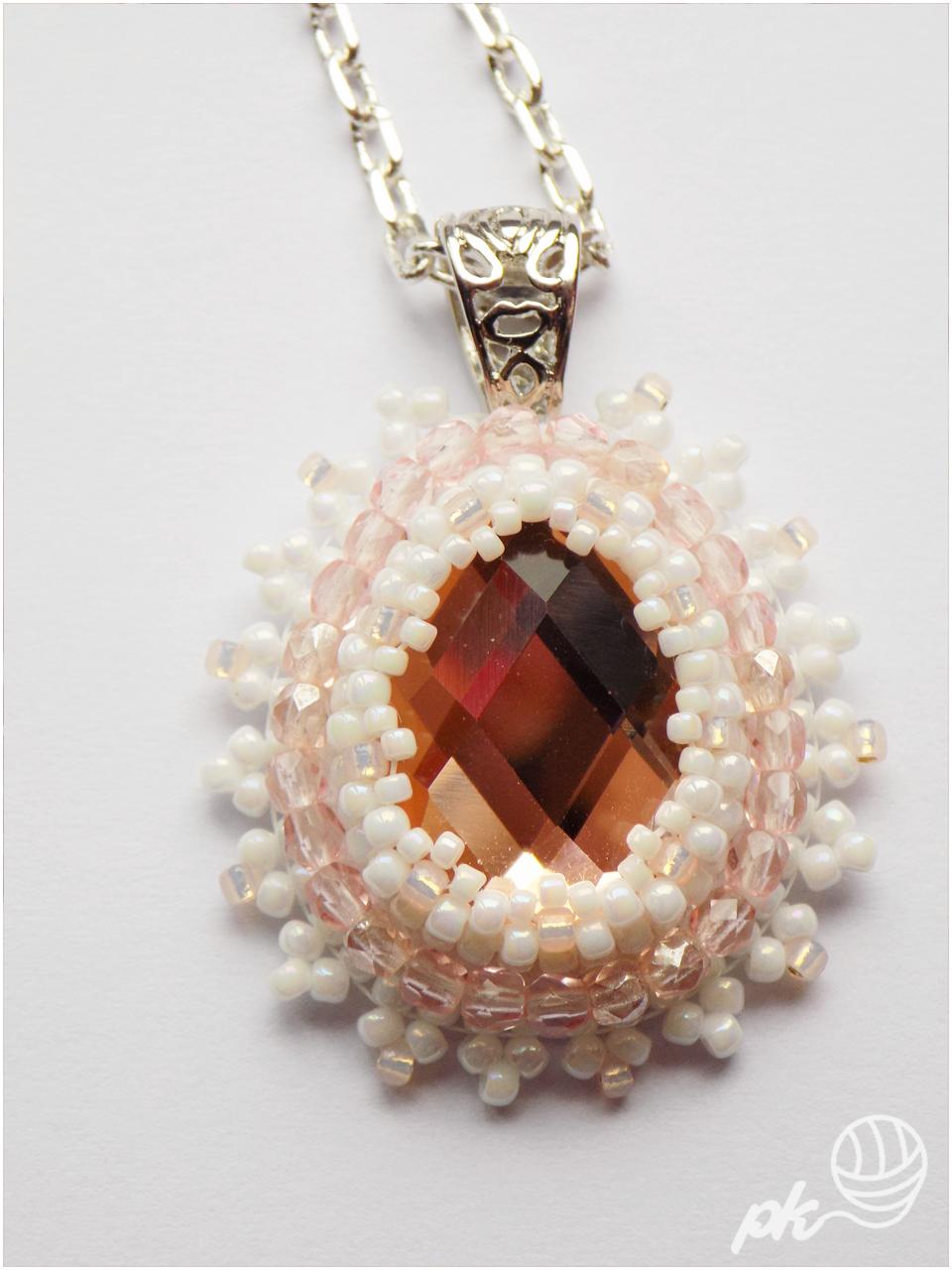 wisior, rękodzieło, wisiorek, handmade, biżuteria, jewellery, kryształek, rhinnes, koraliki toho, koraliki fire polish
