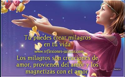 Tú puedes crear milagros en tu vida.✅Los milagros son creaciones de amor, provienen del amor y los magnetizas con amor. Cuando quieras hacer o recibir milagros y amor