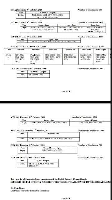 FUTA 2nd Semester CBT Examination Time-Table - 2017/2018