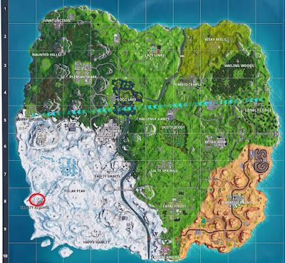 Dance Locations, Water Tower, Fortnite, Frosty Flight