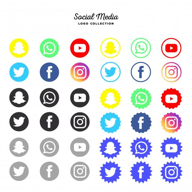 Social media logo type collection Free Vector